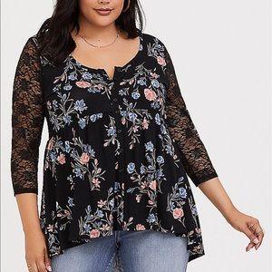 Torrid 2 Super Soft Black Floral Lace Sleeve Top